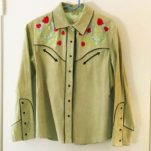 Your Lucky Cowgirl Green Suede Jacket